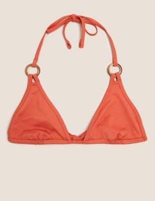 Ring Detail Plunge Triangle Bikini Top