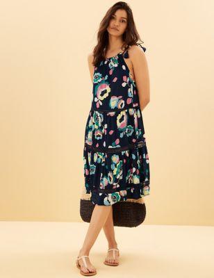 Cotton Woven Floral Tassel Beach Dress