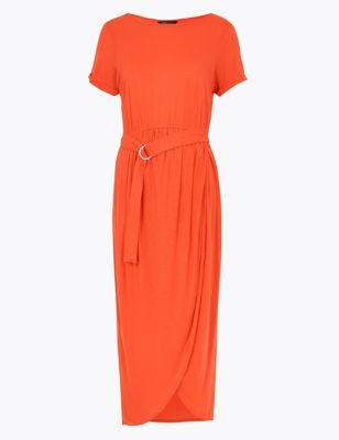 Jersey Belted Maxi Beach Dress