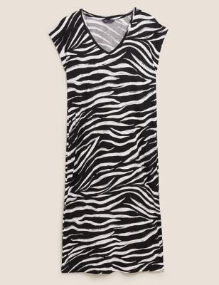 Jersey Animal Print Midi Beach Dress