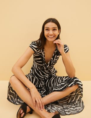 Zebra Print Wrap Midi Beach Dress