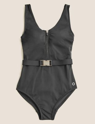 Belted Zip Up Scoop Neck Swimsuit
