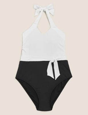 Cross Front Halterneck Swimsuit
