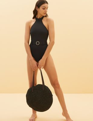 Padded Belted High Neck Swimsuit