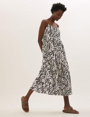 Linen Floral Round Neck Midi Tiered Dress