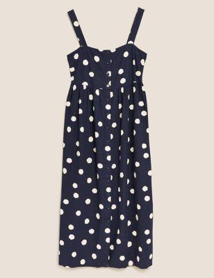Linen Polka Dot Square Neck Midi Dress