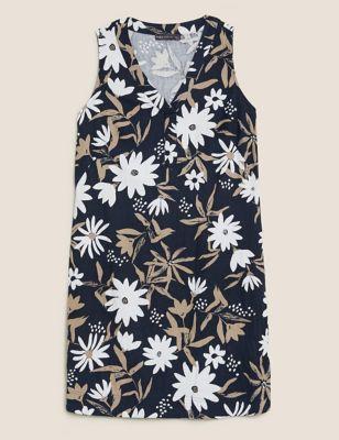Linen Floral V-Neck Knee Length Shift Dress