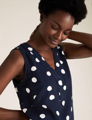 Linen Polka Dot Knee Length Shift Dress