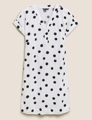 Linen Polka Dot Shift Dress
