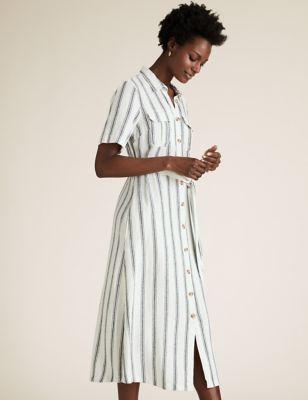 Linen Striped Belted Midi Shirt Dress