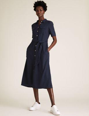 Linen Collared Midi Shirt Dress