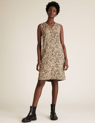 Linen Animal Print Knee Length Shift Dress