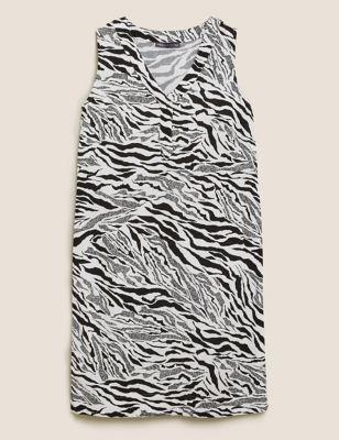 Linen Zebra Print Shift Dress