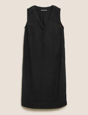 Linen V-Neck Knee Length Shift Dress