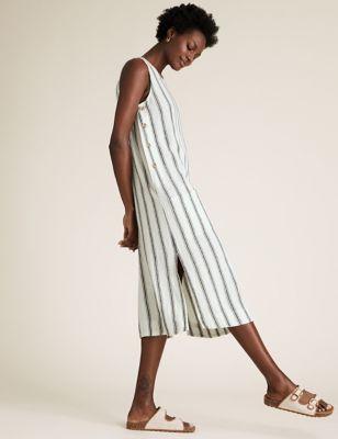 Linen Stripe Midi Shift Dress