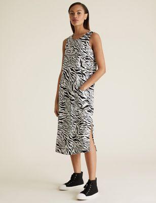 Linen Animal Print Midi Shift Dress