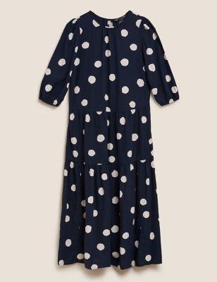 Linen Polka Dot Midi Tiered Dress