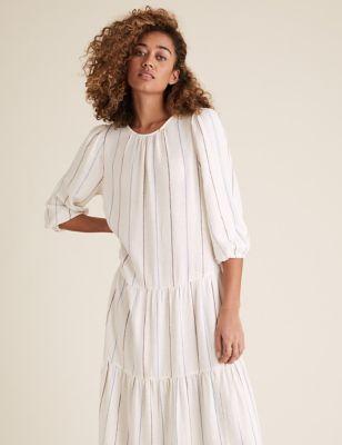 Linen Striped Midaxi Tiered Dress