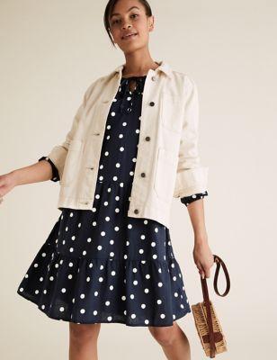 Linen Polka Dot Tie Neck Mini Tiered Dress