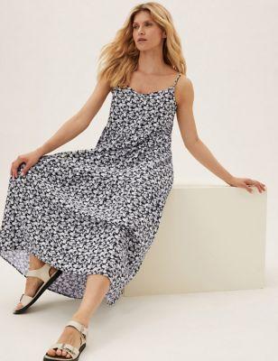 Linen Floral Sleeveless Midi Tiered Dress