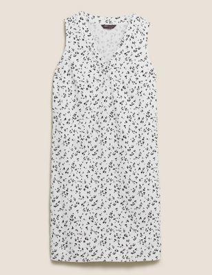 Linen Printed V-Neck Mini Shift Dress