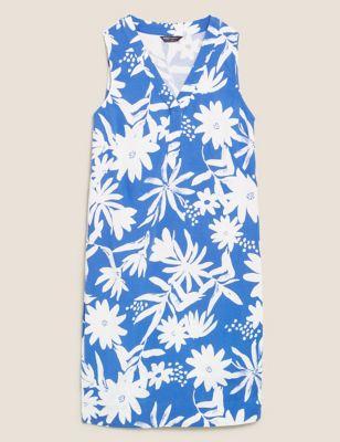 Linen Floral V-Neck Mini Shift Dress