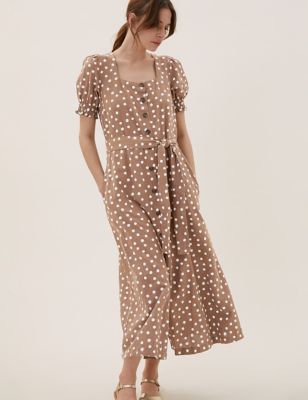 Linen Polka Dot Belted Midi Dress