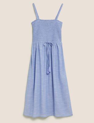 Pure Cotton Midi Shirred Beach Dress