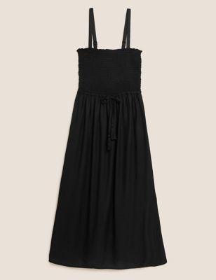 Midi Shirred Waisted Beach Dress