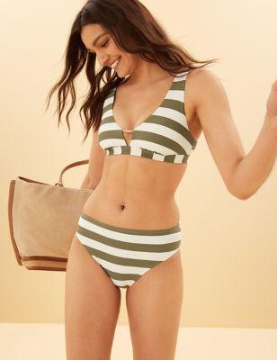 Striped High Waisted Bikini Bottoms