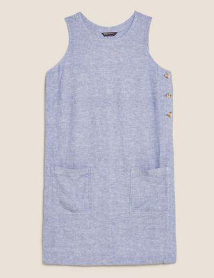 Linen Button Detail Knee Length Shift Dress