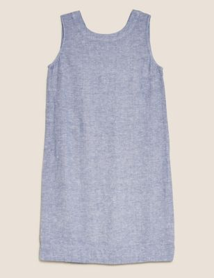 Linen Round Neck Knee Length Shift Dress