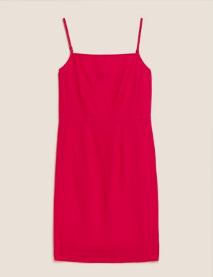 Linen Square Neck Mini Column Dress