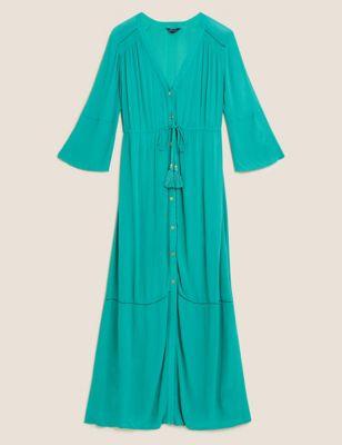 Button Through Maxi Beach Dress
