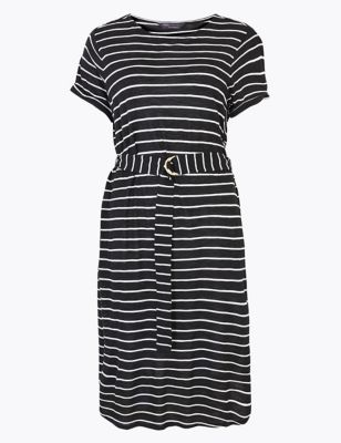 Jersey Striped Midi Waisted Dress