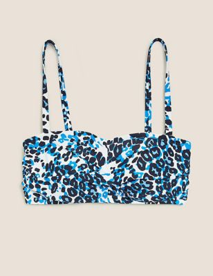 Animal Print Padded Bandeau Bikini Top