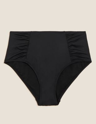 Ruched High Waisted Bikini Bottoms