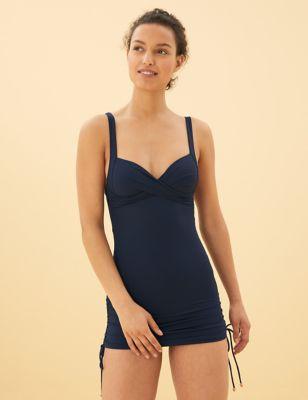 Tummy Control Wrap Skirted Plunge Swimsuit