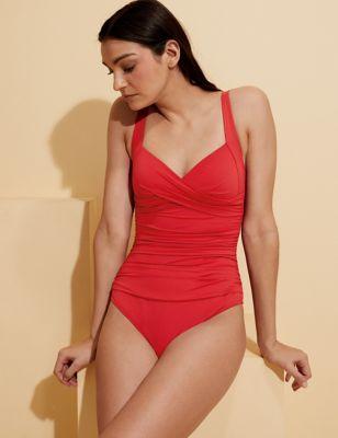 Tummy Control Padded Wrap Plunge Swimsuit