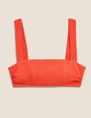 Textured Square Neck Bikini Top