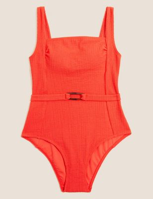 Textured Padded Belted Square Neck Swimsuit