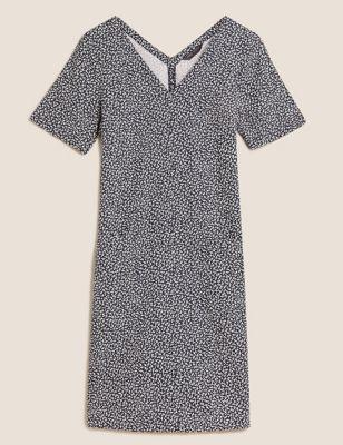 Linen Leaf Print V-Neck Shift Dress