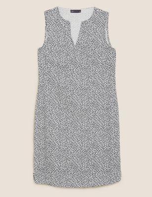 Linen Leaf Print Shift Dress