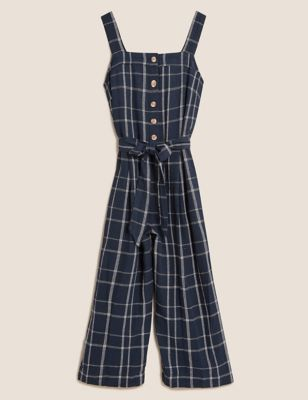 Linen Checked Belted Sleeveless Jumpsuit