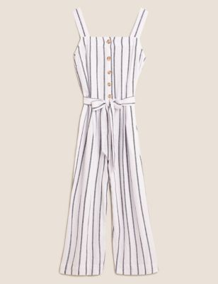 Linen Striped Belted Sleeveless Jumpsuit