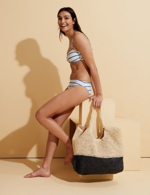 Striped Padded Bandeau Bikini Top