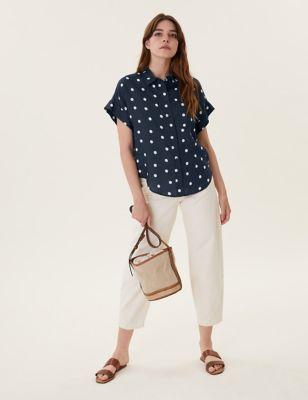 Pure Linen Polka Dot Shirt