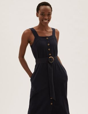 Linen Square Neck Midi Waisted Dress