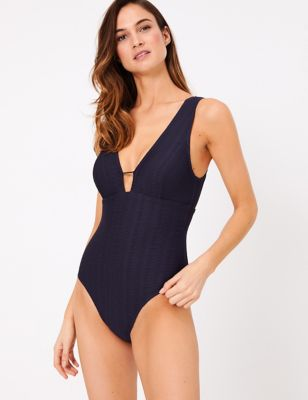 Textured Plunge Swimsuit