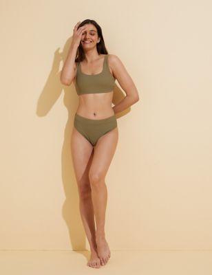 Ribbed Padded Scoop Neck Bikini Top